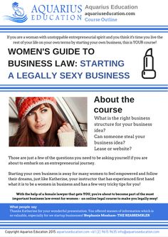 Women's Guide To Business Law: Starting a Business #womeninbusiness