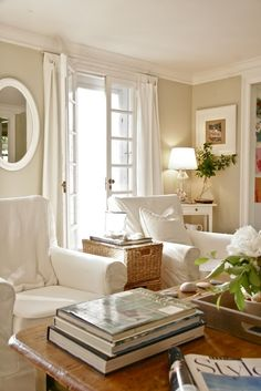 White and cream living room