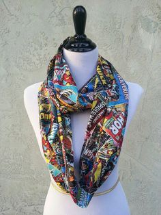 Marvel Comic Fabric Infinity Scarf Spiderman, Thor, Wolverine, captain America, Iron Man, & Hulk by HandmadeReverie