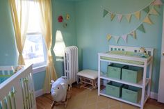 This #MintGreen #nursery is perfectly on trend for spring.
