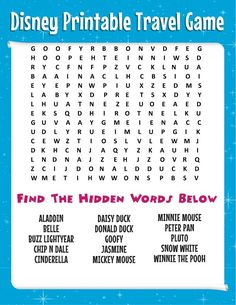 Road Trip Tips: Bring This Free Disney Word Search + More Printable Travel Games…