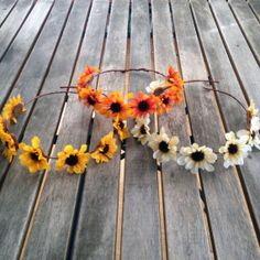 Simple and sweet Rustic Boho Flower Crown Wreath on wrapped medium brown wire. Handmade by Honeycomb Factory.