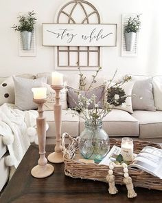 Farmhouse Living Room Furniture, Home Living Room, Living Room Designs, Apartment Living, Kitchen Living, Living Room Decor Pieces, Living Room Quotes, Cozy Apartment, Room Kitchen