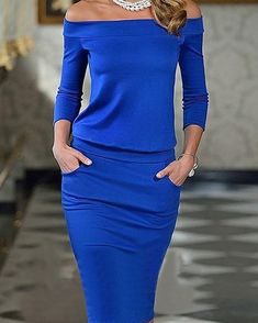 Elegant Fashion Plain Off Shoulder Long Sleeve Bodycon Dress Elegant Dresses, Sexy Dresses, Casual Dresses, Fashion Dresses, Summer Dresses, Women's Fashion, Latest Fashion, Sheath Dresses, Sleeve Dresses