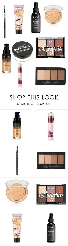 """""""Drugstore Makeup"""" by soniabustos ❤ liked on Polyvore featuring beauty, Maybelline, NYX and Benefit"""