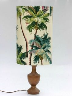 "Beautiful ""Tropical Palm Trees"" fabric is genuine barkcloth! Features Coconut Palms. Shade comes in all manner of sizes."