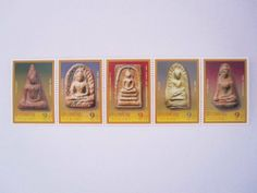Beautiful Thai Stamps Collecting in 2004 Holy 5 Greatest Thai Amulets Unused Thailand by SUWANNABHUMI. $37.97