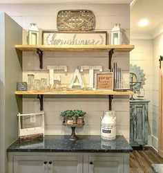 Easy And Cheap Tips: Barn Wood Backsplash shiplap backsplash benjamin moore.Stacked Travertine Backsplash rustic backsplash with white cabinets. Decor, Green Backsplash, Diy Kitchen Shelves, Backsplash Designs, Rustic Farmhouse Kitchen, Interior Design, Home Decor, Farmhouse Interior, Shiplap Backsplash