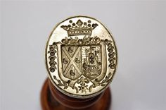 Superb boxwood brass French Ducal alliance armorials + Order wax seal