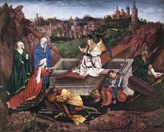 EYCK, Hubert van (died 1426) Click! The Three Marys at the Tomb 1425-35 Oil on wood, 72 x 89 cm Museum Boijmans Van Beuningen, Rotterdam This painting is the work of Jan and Hubert van Eyck although it is sometimes attributed to Hubert alone. The medieval city in the background is a representation of Jerusalem in the 15th century. This panel is the only work by the van Eyck brothers in the Netherlands.