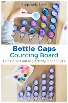 Bottle Caps Counting Board - A Brilliant Counting Activity for Toddlers : This 2 in 1 bottle caps counting board helps toddlers understand 1 to 1 correspondence counting while working their fine motor muscles. Math Activities For Toddlers, Motor Skills Activities, Montessori Activities, Math For Kids, Preschool Activities, Montessori Materials, Diy Toys For Toddlers, Dinosaur Activities, Toddler Bottles