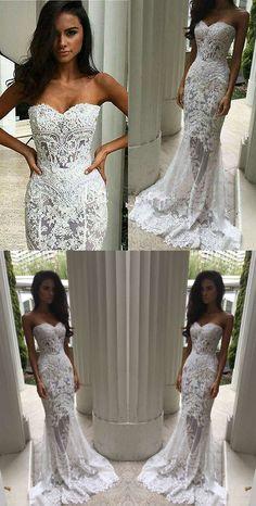 white long wedding dress, white lace long wedding dress, 2017 mermaid long wedding dress, elegant wedding dress