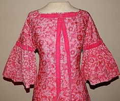 Vintage 60's PINK Lace Bell Sleeve Velvet Bow BABY DOLL Cocktail Party MOD Dress