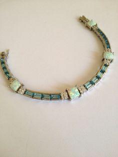 Vintage Sterling Silver Aquamarine and Opal bracelet.