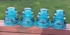 Glass Insulator Lot Of 4 - Hemingray 42 BLUE Insulators MINT Condition