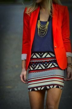Casual meets dressy- Aztec Skirt, dress jacket. Simple way to add to your casual look and make it dressy