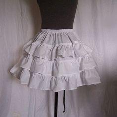 WHITE or BLACK TIERED Petticoat Cotton Ruffle door Peacockalorum, £32.00