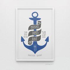 Nautical anchor personalized birth stats baby boy nursery art print