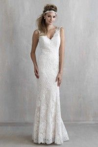 Charming Trumpet/Mermaid Straps Sweep/Brush Train Lace Fabric Boho Wedding Dress with Beading Style yb115123006