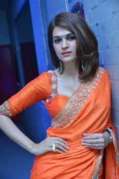 Shraddha Das stills at PSV Garuda Vega movie success meet #shraddhadas #southindianactress #actressinsaree #saree #orangesaree #teluguactress #indianactress