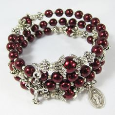 Rosary Wrap Bracelet with Burgundy Red Color Czech Druk Beads and a Tiny Miraculous Medal and Small Crucifix BR0237 by AmenBoutique on Etsy