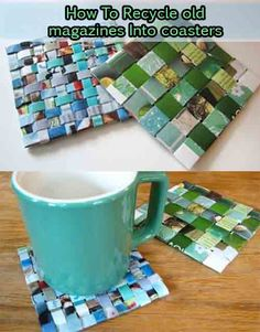 cheap-crafts-to-make-and-sell newspaper crafts 10 Cheap Crafts To Make And Sell Recycled Magazine Crafts, Recycled Magazines, Old Magazines, Recycled Crafts, Recycled Art Projects, Recycling Projects, Recycled Jewelry, Homemade Coasters, Diy Coasters