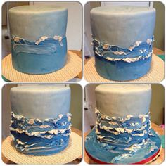 "Making Ocean waves using blue and white fondant..can strategically mix or ""swirl"" together. Then roll out into strips of various sizes and add around cakes. Use small pieces of white fondant and ""spread"" against existing pieces of fondant alongside cake"