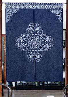 Charmant Eco Friendly Home Decor Cotton Linen Indigo Dye Chinese Fortune Pattern  Blue Door Curtain   ASIAN