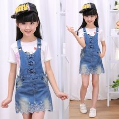 17.30$  Buy now - http://ali05b.shopchina.info/go.php?t=32660932319 - New Fashion 2017 Spring Autumn Baby Girls Overalls Summer Clothes Children Cotton Denim Strap Dresses Jeans Bow Sling Dress  #shopstyle