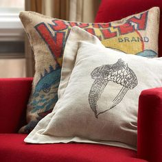 Acorn Pillow - fall style - iron on transfer! so cute