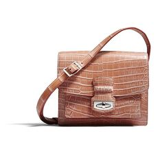 Wiltshire Shoulder Bag in fresco coral crocodile with shoulder strap, silver finish accessories and soft suede lining
