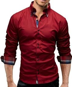Slim Fit Dress Shirts, Slim Fit Dresses, Fitted Dress Shirts, Shirt Dress, Long Sleeve Tops, Long Sleeve Shirts, Shirt Sleeves, Camisa Slim, Business Shirts