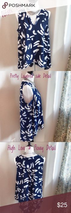 Alfani Sleeveless Blouse Blue and white abstract print Sleeveless Blouse by Alfani. Super log and flowy. Had a layered look in the right side and a high low design. Perfect to wear with jeans or white shorts. New, never worn. Alfani Tops Blouses