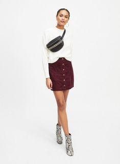 Burgundy Corduroy A-Line Button Through Skirt - Clothing - New In - Miss Selfridge