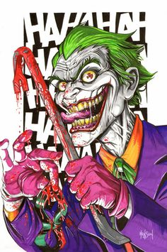 """Based it in part on the John DiMaggio version of the Joker from the """"Under the Red Hood"""" animated movie. It alludes to the death of Jason Todd. Joker w Crowbar (LoRes) Der Joker, Joker Art, Joker Batman, Gotham Batman, Batman Art, Batman Robin, Joker Dc Comics, Joker Drawings, Jokers Wild"""
