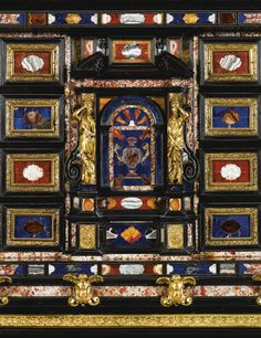 An Italian pietre dure mounted pewter inlaid rosewood and ebony cabinet, Roman, mid 17th century, on a George IV gilt-bronze-mounted gonçalo alves stand by Morel and Hughes, circa 1823, mounted with 17th century Florentine pietre dure plaques from the Grand Ducal Workshops