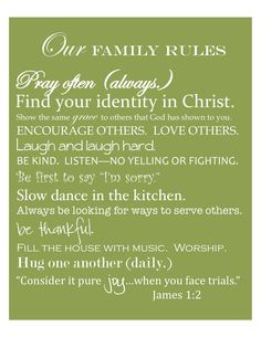 Free Printable by House of Hydrangeas: Family Rules