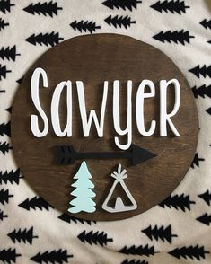 18 Inch Round Custom Name Sign |Nursery name Sign | Wood cut out | Name cut out | Nursery decor| Wood baby name | Wall hanging | Personal by mycoppercactushome on Etsy