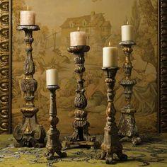 Renaissance Wood Candlestick Set in Elegant Italian Style