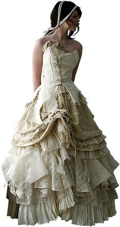 Vintage lace and ribbon steampunk design dress.