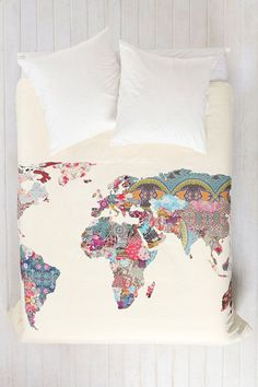 Patchwork World Map Duvet Cover.