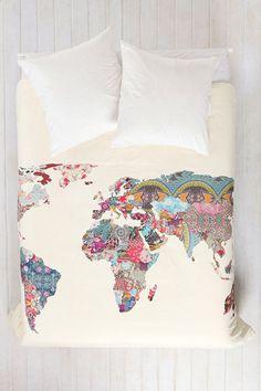 Patchwork World Map Duvet Cover.