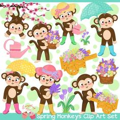 Spring Monkeys Clipart Set perfect for all kinds of creative projects!You will receive :14 separate high resolution 300dpi PNG and 14 JPEG files in a zip file -- you need winzip or other zip extracting software to unzip the files, winzip is free from their websiteDue to the digital nature of products, all sales are final.