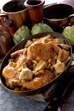 """A chicken and artichoke dish is enhanced with a little bit of Strega. Credit: """"Shakespeare's Kitchen"""" by Francine Segan (Random House)"""