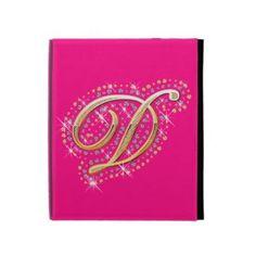 Pink iPad Folio Case with Initial D Ipad 1, Ipad Case, Initial D, Diamonds, Rainbow, Cover, Pink, Gold, Rain Bow