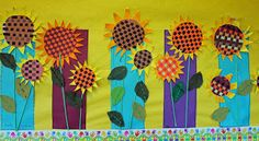 Sunflowers - paper woven centers & leaves - burlap with stitches