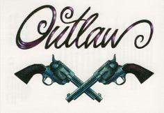 OUTLAW SCRIPT LETTERS REVOLVERS GUNS WESTERN WILD WEST TEMPORARY TATTOO Leo Tattoos, Feather Tattoos, Cute Tattoos, Body Art Tattoos, Tattoos For Guys, Sleeve Tattoos, Pistol Tattoos, Western Tattoos, Cowboy Tattoos