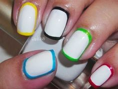 Nail Art - Olympics Nails (Border Nails) - Decoracion de uñas