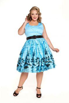Aurora Dress in Blue Castle Print - Plus Size