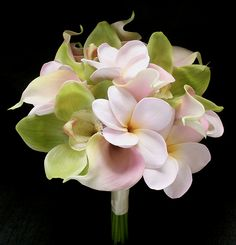 Natural Touch Green Orchids, Plumerias and Calla Lilies Bouquet - how sweet is that! Pleasant fragrance as well, I'll bet. Calla Lily Bouquet, Calla Lilies, Flower Bouquets, Plumeria Bouquet, Silk Wedding Bouquets, Bridesmaid Bouquets, Bridesmaids, Green Orchid, Artificial Orchids